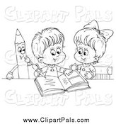 Pal Clipart of Black and White Children Writing in a Photo Album by Alex Bannykh