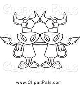 Pal Clipart of Black and White Cow Buddies by Toonaday