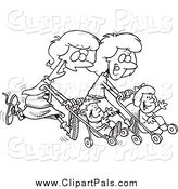 Pal Clipart of Black and White Mothers Running Together with Strollers by Toonaday