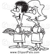 Pal Clipart of Black and White Women at a Bake Sale by Toonaday