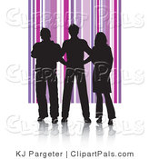 Pal Clipart of Black Silhouetted Adults Against a Purple Striped Background by KJ Pargeter