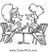 Pal Clipart of Cartoon Black and White Lady Friends Talking over Coffee by Toonaday