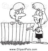 Pal Clipart of Cartoon Black and White Lady Neighbors Chatting over a Fence by Toonaday