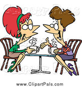 Pal Clipart of Cartoon Lady Friends Talking over Coffee by Toonaday