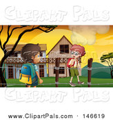 Pal Clipart of Caucasian and a Hispanic School Boys Walking by Buildings at Sunrise by Graphics RF