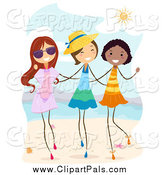 Pal Clipart of Cheerful Stick Girls Walking on a Beach by BNP Design Studio