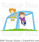 Pal Clipart of Children Playing on Monkey Bars at a Playground by BNP Design Studio
