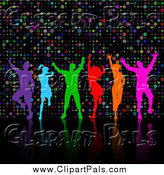 Pal Clipart of Colorful Silhouetted Dancers over Dots by KJ Pargeter