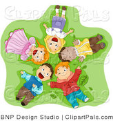 Pal Clipart of Diverse Kids Laying in the Grass and Gazing up by BNP Design Studio