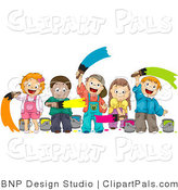Pal Clipart of Diverse Kids Painting by BNP Design Studio