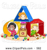 Pal Clipart of Diverse School Kids Playing with Shapes at a Daycare by BNP Design Studio