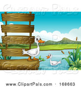 Pal Clipart of Ducks with a Log and Wooden Sign at a Lake by Graphics RF