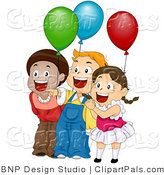 Pal Clipart of Excited Children with Party Balloons by BNP Design Studio