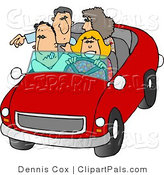 Pal Clipart of Family and Friends Going on a Road Trip in Their Red Car by Djart