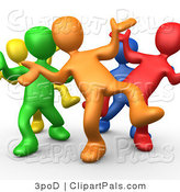 Pal Clipart of Five Different Colored and Diverse People Dancing and Having Fun at a Party Together by 3poD
