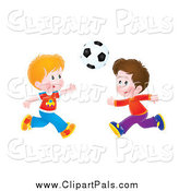 Pal Clipart of Flushed Boys Playing Soccer by Alex Bannykh