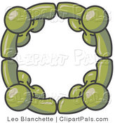 Pal Clipart of Four Dark Green People Standing in a Circle and Holding Hands for Teamwork and Unity by Leo Blanchette