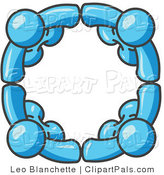 Pal Clipart of Four Light Blue People Standing in a Circle and Grasping Hands for Teamwork and Unity by Leo Blanchette