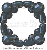 Pal Clipart of Four Navy Blue People Standing in a Circle and Grasping Hands for Teamwork and Unity by Leo Blanchette
