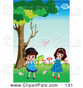 Pal Clipart of Girls Tossing Paper Planes to One Another Outside by Mayawizard101