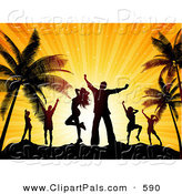 Pal Clipart of Happy Silhouetted Dancers Against an Orange Sunset on a Beach by KJ Pargeter