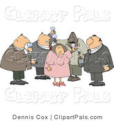 Pal Clipart of Heavyset Men and a Woman Drinking Wine at a Party by Djart