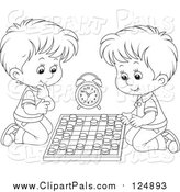 Pal Clipart of Lineart Boys Playing Chess by Alex Bannykh