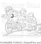 Pal Clipart of Outlined Kids Skateboarding and Riding a Bike by YUHAIZAN YUNUS