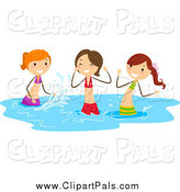 Pal Clipart of Playful Stick Girls Splashing in Water by BNP Design Studio