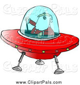 Pal Clipart of Santa Claus Flying a Christmas Saucer by Djart