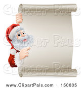 Pal Clipart of Santa Claus Pointing Around a Scroll Sign by AtStockIllustration