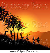 Pal Clipart of Silhouetted Active Children Playing on a Hillside at Sunset by KJ Pargeter