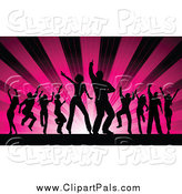 Pal Clipart of Silhouetted Dancers Against Pink Rays by KJ Pargeter