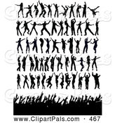 Pal Clipart of Silhouetted Dancers and Fans by KJ Pargeter