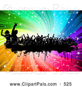 Pal Clipart of Silhouetted Dancers on Grunge over a Rainbow Swirl by KJ Pargeter