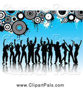 Pal Clipart of Silhouetted Dancers over Blue with Circles and Grunge by KJ Pargeter