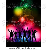 Pal Clipart of Silhouetted Dancers over Colorful Bokeh Lights by KJ Pargeter