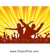 Pal Clipart of Silhouetted Dancers over Sun Rays by KJ Pargeter