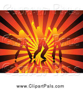 Pal Clipart of Silhouetted Gradient Dancers over Rays by KJ Pargeter