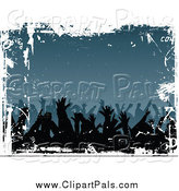 Pal Clipart of Silhouetted Hands of Dancers over Blue and White Grunge by KJ Pargeter