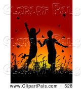 Pal Clipart of Silhouetted Happy Children Playing in Grass and Butterflies at Sunset by KJ Pargeter