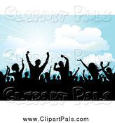 Pal Clipart of Silhouetted People Dancing at an Outdoor Concert by KJ Pargeter