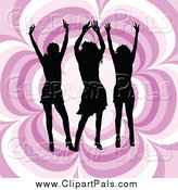 Pal Clipart of Silhouetted Women Dancing over a Pink Floral Pattern by KJ Pargeter
