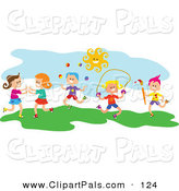 Pal Clipart of Square Head Children Playing Outside at Recess by Prawny