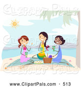 Pal Clipart of Stick Ladies Having a Beach Picnic by BNP Design Studio