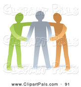 Pal Clipart of Supportive Green and Orange Men Helping a Gray Man Through Something by Qiun
