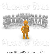 Pal Clipart of Three Groups of 3d Blanco Men Watching an Orange Man by Jiri Moucka