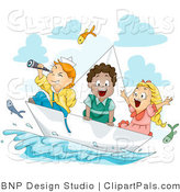 Pal Clipart of Three Happy Kids Exploring on a Paper Boat by BNP Design Studio