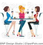 Pal Clipart of Three Ladies Chatting over Coffee by BNP Design Studio