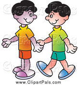 Pal Clipart of Two Boys Walking Holding Hands by Lal Perera